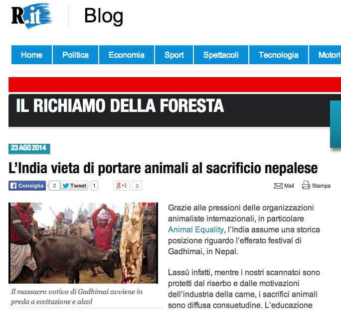 La Repubblica - India Blocca Confini Nepal per sacrificio Gadhimai